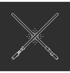 Two white swords on black background vector image