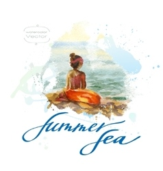 Watercolor seascape with girl vector image vector image