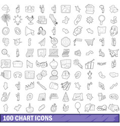 100 chart icons set outline style vector image