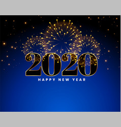 2020 happy new year blue fireworks background vector