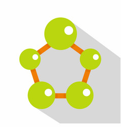 Abstract green molecules icon flat style vector