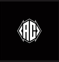 Ac logo monogram with shield shape designs vector
