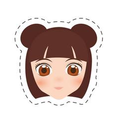 anime face girl cartoon - cut line vector image