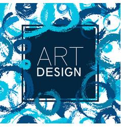 Art frame square blue circles color elements vector