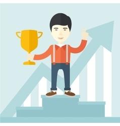 Asian man standing on the winning podium vector image