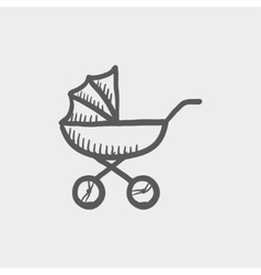 Baby stroller sketch icon vector