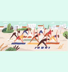 beach yoga class flat people vector image