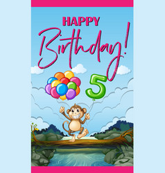 Birthday card with monkey and balloons vector