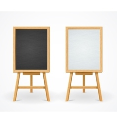 Black Board and White Set On Easel Front View vector image