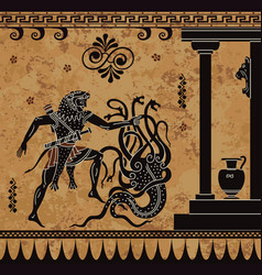 Black figure potteryancient warrior and monster vector