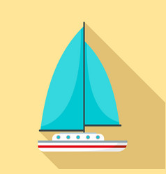 blue sail boat icon flat style vector image