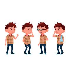 boy kindergarten kid poses set caucasian vector image
