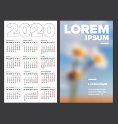 business card size 2020 calendar template vector image