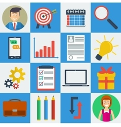 Business square 16 icons vector image