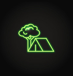 camping concept icon in neon line style vector image