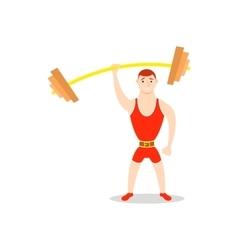 Cartoon man barbell exercises squat deadlift vector