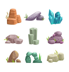 Cartoon stones and rocks assets set vector