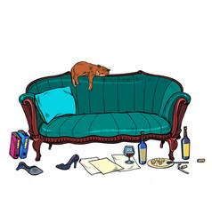 Cat mess room vector
