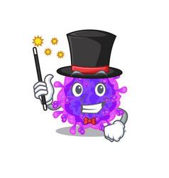 Charming alpha coronavirus performance as magician vector
