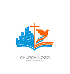 Church logo and christian symbols vector
