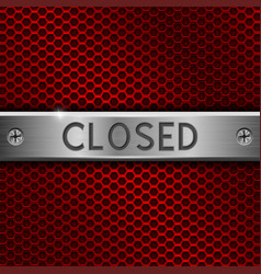 closed metal plate with screws on red perforated vector image
