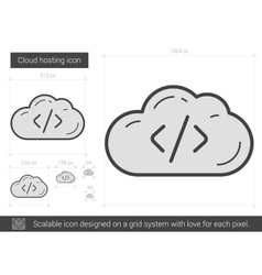 Cloud hosting line icon vector