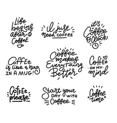 coffee related hand drawn linear calligraphy vector image