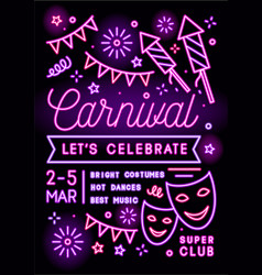 colorful carnival party promo poster flat vector image