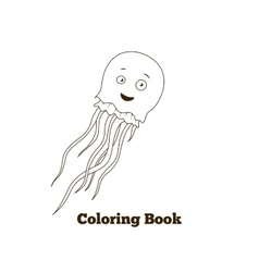 Coloring book jellyfish fish cartoon vector