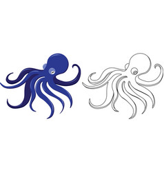 coloring page with octopus - color and line art vector image