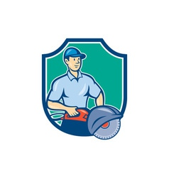 Construction Worker Concrete Saw Consaw Cartoon vector image