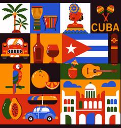Cuba havana tourism icons vector