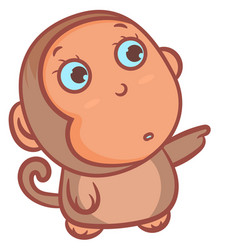 Cute little brown monkey and standing scene vector