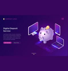 Digital deposit money service isometric concept vector