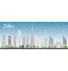 Dubai City skyline with grey skyscrapers vector image