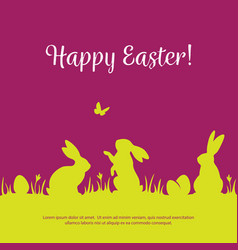 easter background with bunny silhouettes vector image