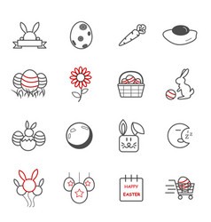easter day icons holiday and event concept vector image