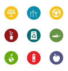 eco friendly icons set flat style vector image