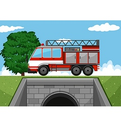 Fire truck on the road vector
