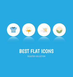 flat icon fiber set of blouse fiber knitting and vector image