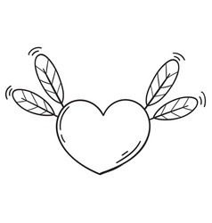 Flying heart with feathers in doodle style vector