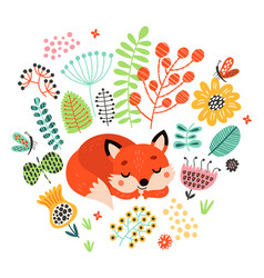 fox is sleeping among flowers cute vector image