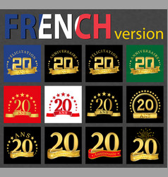 French set of number 20 templates vector