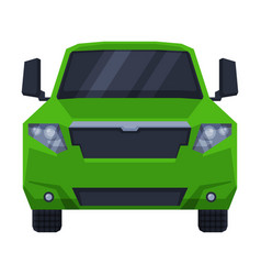 Front view off green road truck suv pickup car vector