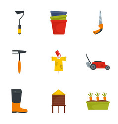 garden tool icon set flat style vector image