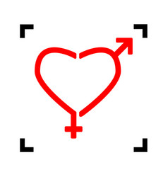 gender signs in heart shape red icon vector image