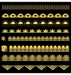 Golden set of lace ribbons vector