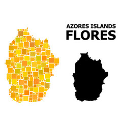Golden square pattern map azores - flores vector