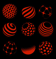 halftone red spheres set vector image