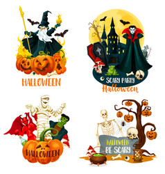 Halloween characters scary monsters and villains vector
